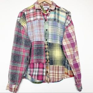 Vintage Super Distressed Patchwork Flannel Shirt